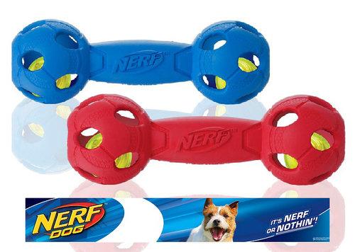 NERF樂活打擊─ 紅色 犬用七彩LED啞鈴型玩具7/犬用玩具/狗玩具/橡膠玩具