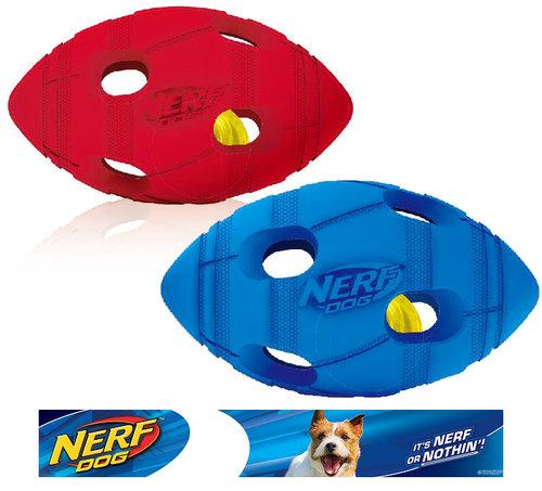 NERF樂活打擊─ 藍色/紅色 犬用七彩LED橄欖球玩具5.4/犬用玩具/狗玩具/橡膠玩具