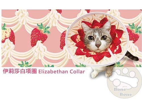 伊莉莎白寵物項圈-草莓蛋糕//項圈/頚圈/頭套/防咬保護套/S
