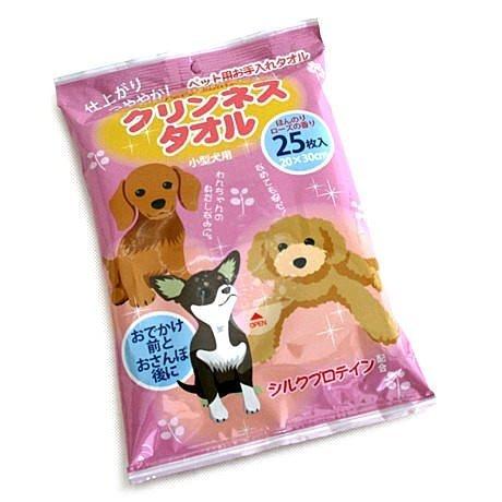 日本Pet Paradise授權正品 [Pet'y Soin] 絲蛋白愛犬用濕紙巾【小型犬用】 25枚入
