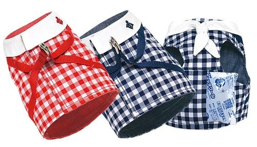 犬と生活(犬與生活) 寵物狗用格紋水手夏日胸背 紅色藍色 (內附保冷劑) 尺寸4號