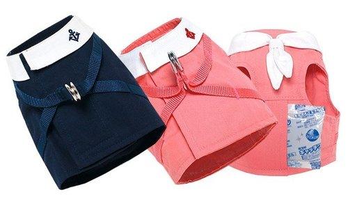犬と生活(犬與生活) 寵物貓專用 水手領夏日胸背 粉紅海軍藍 (內附保冷劑) 尺寸XS號