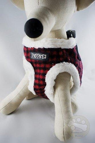 時尚紅黑格紋毛絨保暖胸背寵物外出胸背狗狗胸背組 (附牽繩)