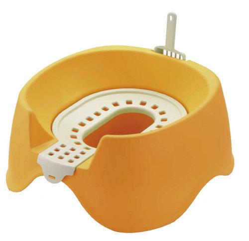 日本Richell利其爾 卡羅圍牆貓廁所/貓砂盆/貓便盆 節省集中貓砂新設計 橘色下標區