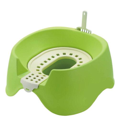 日本Richell利其爾 卡羅圍牆貓廁所/貓砂盆/貓便盆 節省集中貓砂新設計 綠色下標區