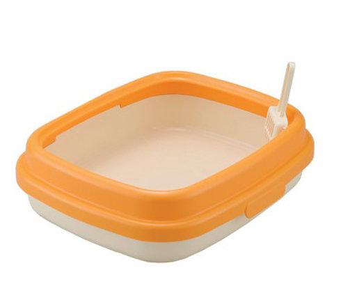 日本RICHELL 利其爾 卡羅單層貓砂盆 貓便盆 貓廁所(小) 橘色 時尚繽紛