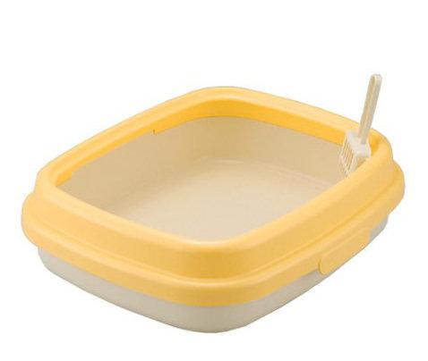 日本RICHELL 利其爾 卡羅單層貓砂盆 貓便盆 貓廁所(小) 黃色 時尚繽紛
