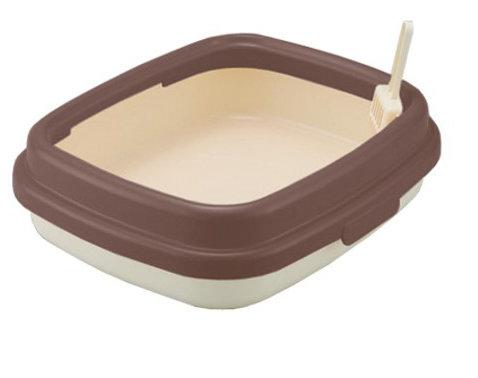 日本RICHELL 利其爾 卡羅單層貓砂盆 貓便盆 貓廁所(小) 咖啡色 時尚繽紛