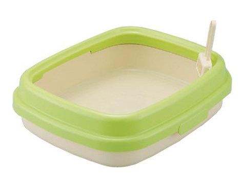 日本RICHELL 利其爾 卡羅單層貓砂盆 貓便盆 貓廁所(小) 綠色 時尚繽紛