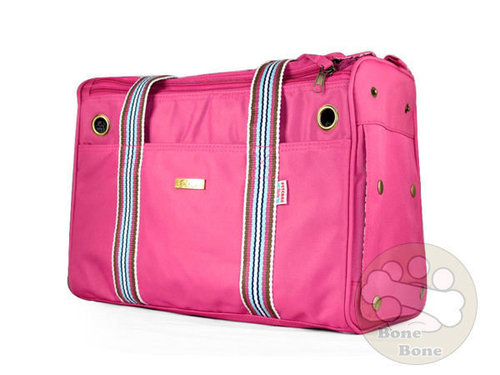 126ME-粉/日式輕巧/方形條紋背袋寵物包/寵物外出包/狗狗外出包/粉/外出提袋/外出包