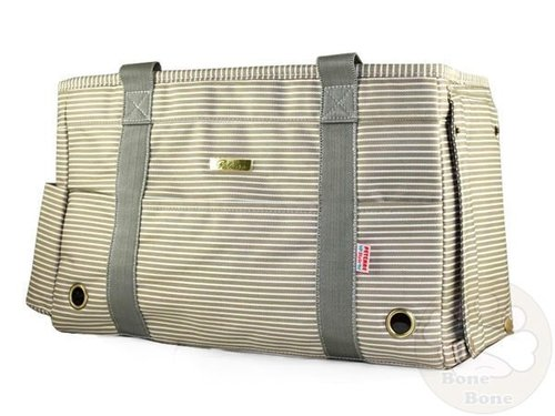 130KK-狗狗包包~日系風寵物手提帶/寵物包/寵物外出包(加大款)☆卡其條紋☆