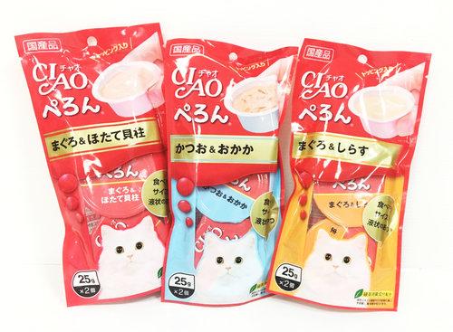 日本CIAO《瑪卡濃杯》25g*2/鰹魚+鰹魚片/鮪+干貝/鮪+吻仔魚/貓點心