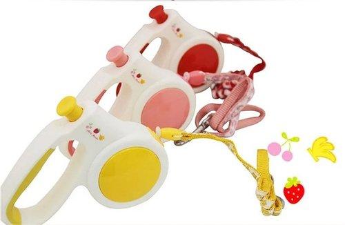 沛滋露 水果村系列伸縮拉繩 SS號 紅/粉/黃 4.5(m) 超小型犬適用~8KG 寵物牽繩