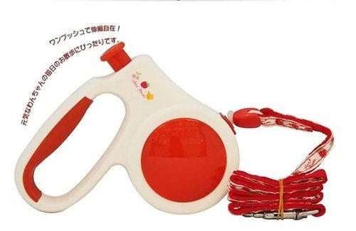 沛滋露 水果村系列伸縮拉繩 S號 草莓紅 5(m) 中型犬適用-20Kg 牽繩