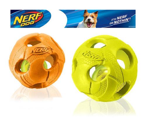 NERF樂活打擊─橘色/綠色 犬用七彩LED球型玩具3.5/犬用玩具/狗玩具/橡膠玩具