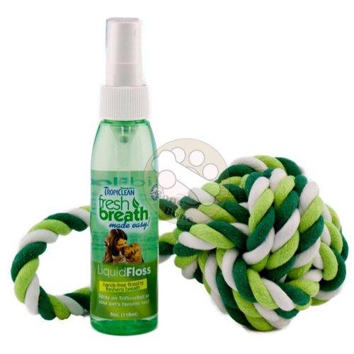 美國Fresh breath 鮮呼吸- 中大型犬潔牙《潔牙噴霧+牙線球》118ml/狗狗潔牙