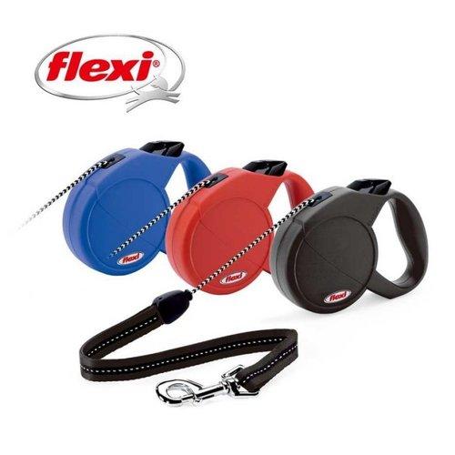 Flexi 飛萊希 多功能伸縮寵物牽繩狗拉繩自動牽繩 經典帶狀L號 (紅黑藍) 適用50kg長度5m