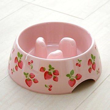 日本pet paradise粉色可愛草莓 狗狗防滑碗/貓咪食碗/寵物飼料碗/食盆-S號