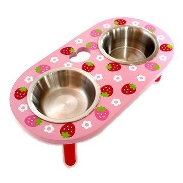 Pet Paradise 日本進口 narikiri pets 野草莓木製寵物可調高度餐桌 貓狗不鏽鋼碗餐檯