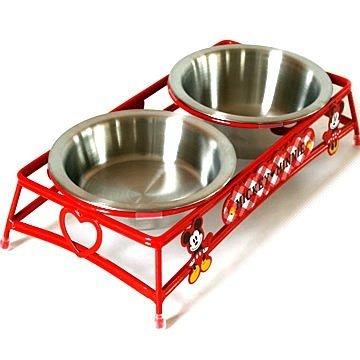日本PET PARADISE授權正品 Disney Mickey & Minnie 米奇與米妮不鏽鋼犬貓用雙碗餐檯