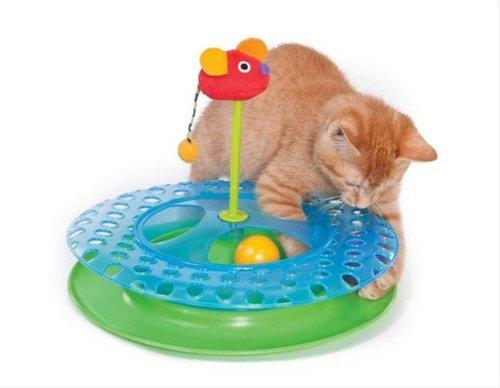 美國 Petstages #736 乳酪上的老鼠軌道球 貓玩具 旋轉軌道球
