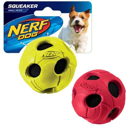 NERF樂活打擊─ 紅色/綠色 犬用耐咬包覆式球型玩具3.5/犬用玩具/狗玩具/橡膠玩具