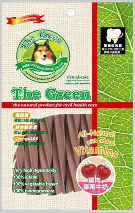 The Green 潔牙骨6支入袋裝/The Green星型潔牙棒-雞肉+草莓牛奶 6支入