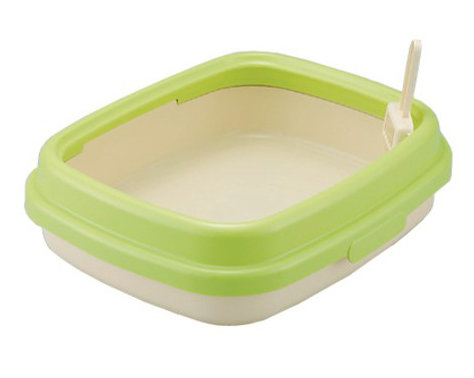 日本RICHELL 利其爾 卡羅單層貓砂盆 貓便盆 貓廁所(大) 綠色 時尚繽紛 M號