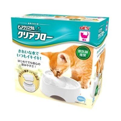 GEX 貓用循環式給水器 圓滿平安濾淨飲水皿 愛貓淨白 950ml 寵物貓電動飲水機器