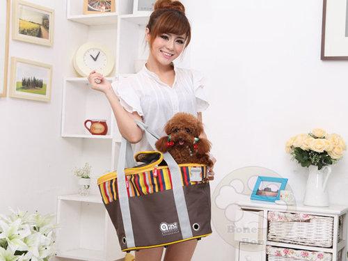 aini咖啡彩條包A01/狗狗外出包/寵物外出提籠/可手提/肩背/斜背/小型犬適用